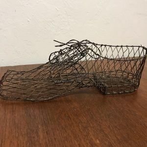 Vintage Chicken Wire Shoe Planter